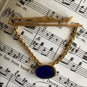 Vintage Blue cabochon men's tie clip bar 1930's